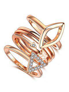 Triangle Rhinestone Ring Set - Rose Gold 6