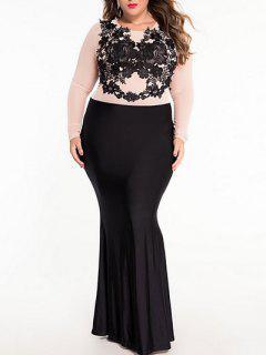 Long Sleeve Lacing Patch Color Block Maxi Dress - Black S