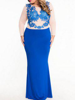 Long Sleeve Lacing Patch Color Block Maxi Dress - Blue S