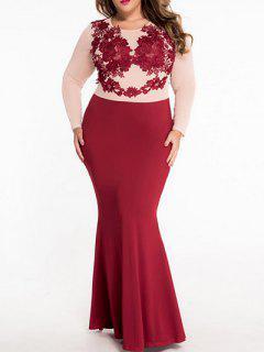 Vestido Maxi Ajustado Encaje Color Bloque  - Rojo S