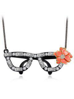 Rhinestone Flower Glasses Necklace - Black