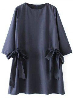 Bow Tie Tunic Dress - Purplish Blue M