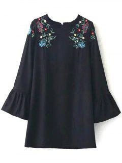 Frilled Embroidered Dress - Black S