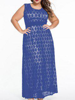 Scoop Neck Lace Hook Empire Waist Maxi Dress - Blue Xl
