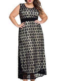 Scoop Neck Lace Hook Empire Waist Maxi Dress - Black Xl