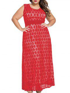 Scoop Neck Lace Hook Empire Waist Maxi Dress - Red Xl