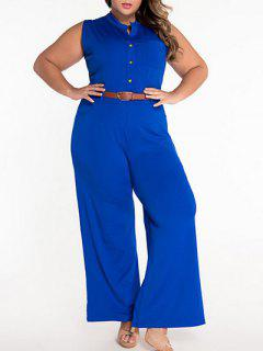 Sleeveless Belted Plus Size Jumpsuit - Blue L