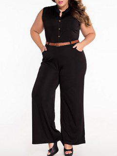 Sleeveless Belted Plus Size Jumpsuit - Black Xl