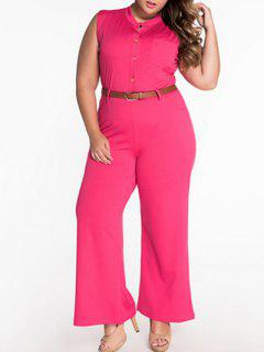 Sleeveless Belted Plus Size Jumpsuit - Tutti Frutti 2xl