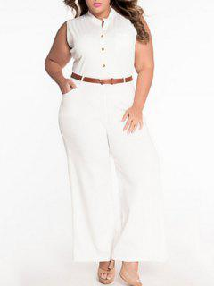 Sleeveless Belted Plus Size Jumpsuit - White 2xl