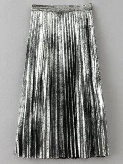 Metallic Color Pleated Skirt - Silver S