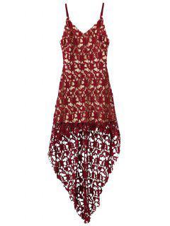 High Low Crochet Dress - Burgundy L