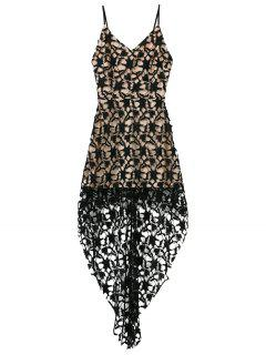 High Low Crochet Dress - Black S