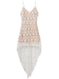 High Low Crochet Lace Prom Dress - White S