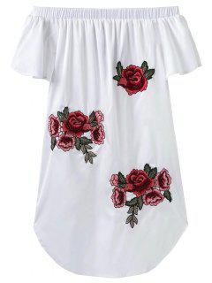 Robe Asymétrique Brodé Sans L'épaule - Blanc L