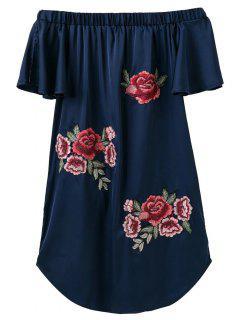 Robe Asymétrique Brodé Sans L'épaule - Bleu Cadette S