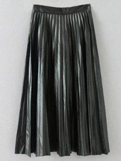 Pleated PU Leather Long Skirt - Black S