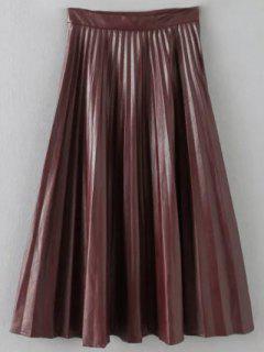 Pleated PU Leather Long Skirt - Burgundy S