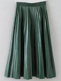 Pleated PU Leather Long Skirt - Army Green S