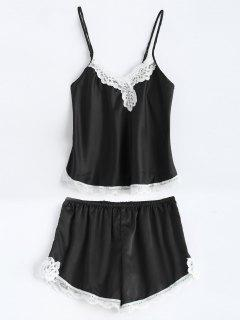Lace Panel Tank Top And Drawstring Shorts - Black
