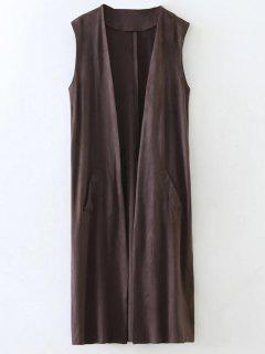 Collarless Side Slit Suede Waistcoat - Coffee L