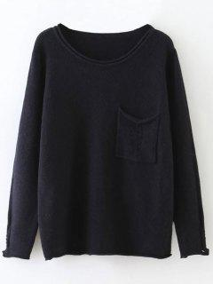 Round Neck Ripped Sweater With Pocket - Black