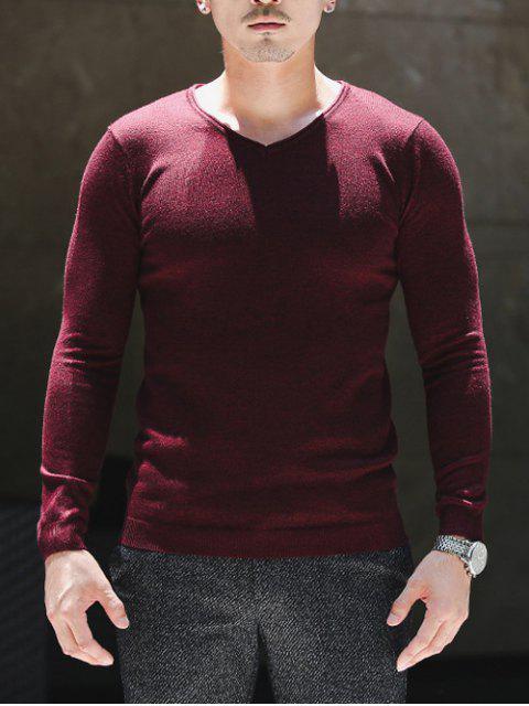 Slim Fit V cuello jersey géneros de punto - Vino Rojo L Mobile