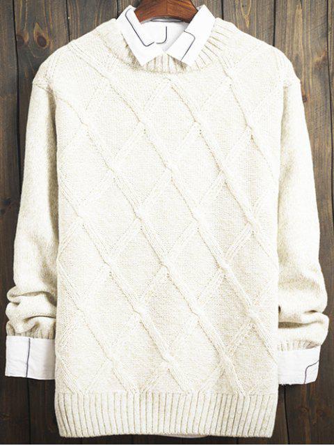 Chandail ras de cou de design à motifs de losanges avec manches longues - Blanc XL Mobile