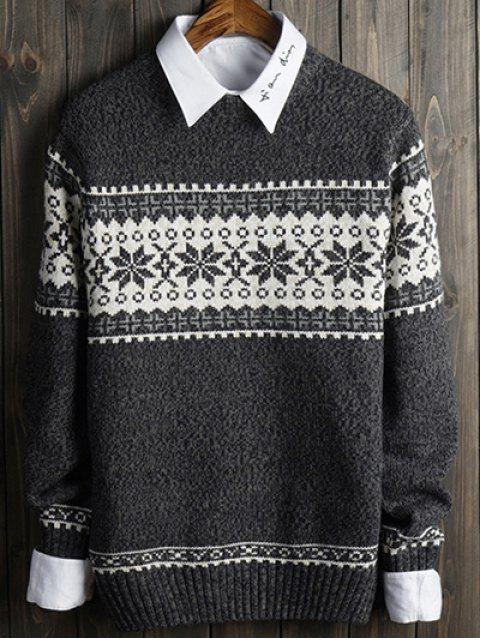 affordable Snowflake and Geometric Spliced Sweater - GRAY L Mobile