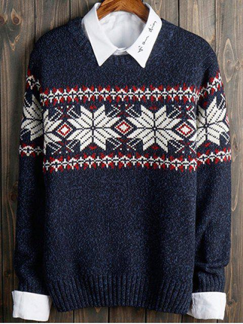 Color Block Snowflake Crew Neck Langarm-Pullover - Blau XL  Mobile