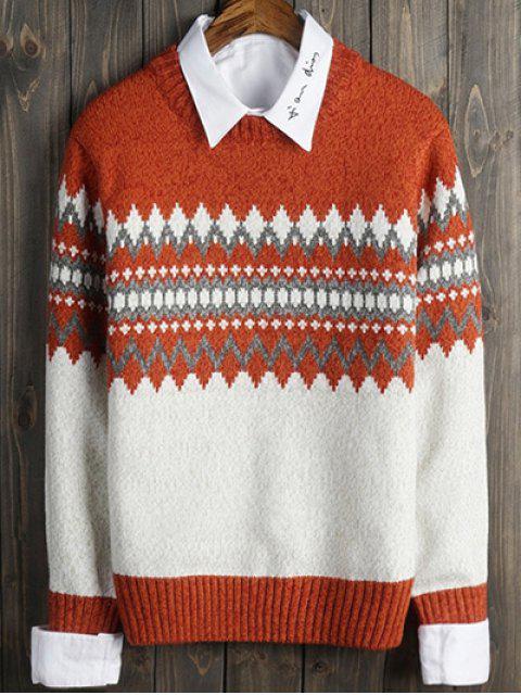 latest Crew Neck Color Block Geometric Long Sleeve Sweater - ORANGE 2XL Mobile