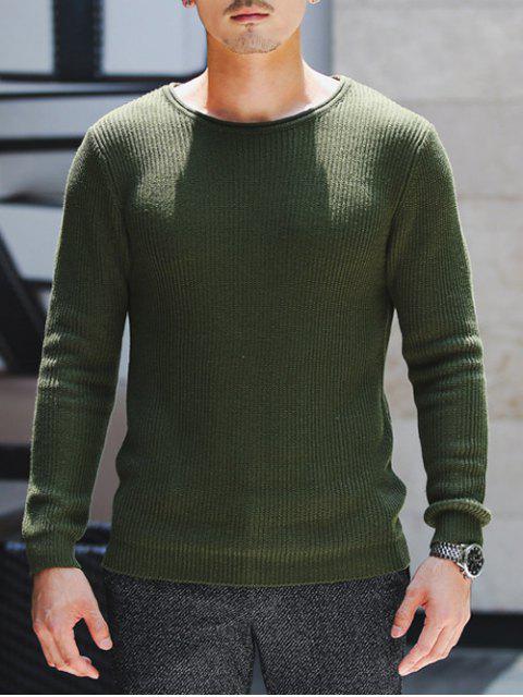 Suéter Acanalado de punto Cuello Redondo - Verde del ejército XL Mobile