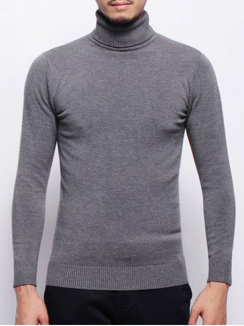 Stretchy Pullover Rollkragenpullover - Grau M Mobile
