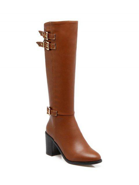 ladies Buckles Chunky Heel Zipper Boots - BROWN 38 Mobile