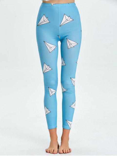 chic High Waist Skinny Geometric Print Leggings - LAKE BLUE XL Mobile