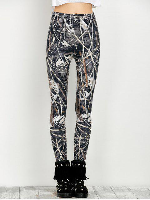 women's Elastic Waist Print Leggings - FLORAL M Mobile