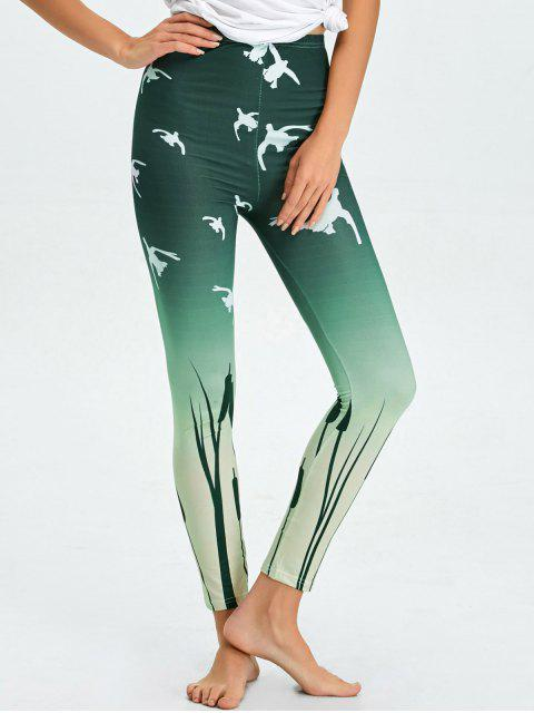 buy High Waist Skinny Ombre Print Leggings - BLACKISH GREEN M Mobile