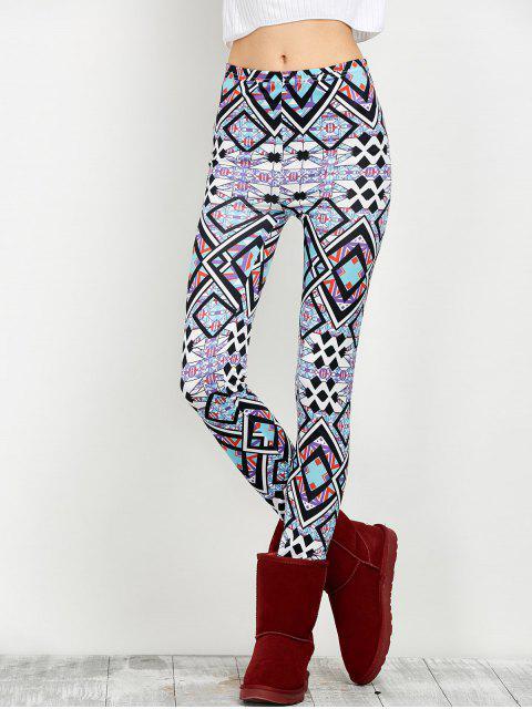 best Elastic Waist Geometric Print Leggings - FLORAL M Mobile