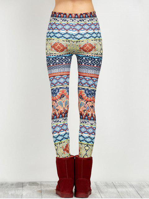 trendy Elastic Waist Skinny Print Leggings - FLORAL M Mobile