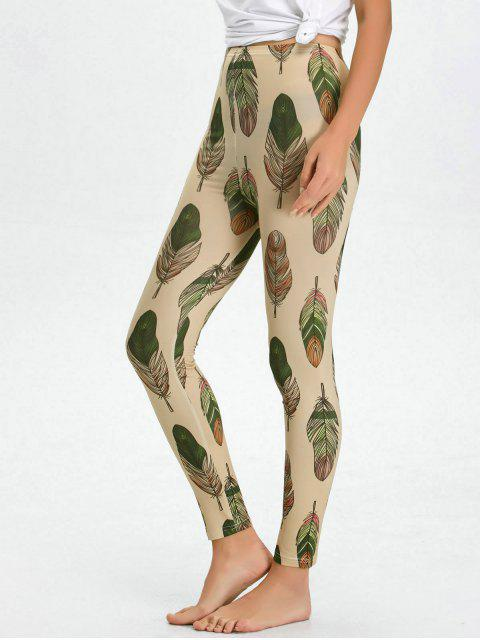 outfit High Waist Skinny Leaf Print Leggings - APRICOT XL Mobile
