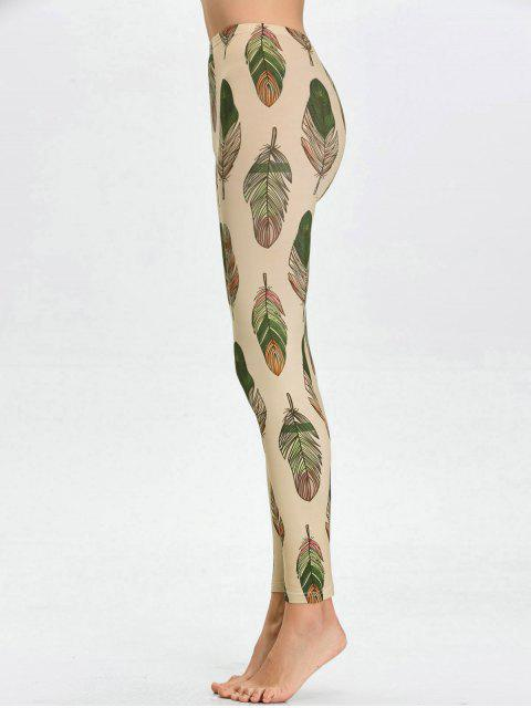 outfits High Waist Skinny Leaf Print Leggings - APRICOT L Mobile