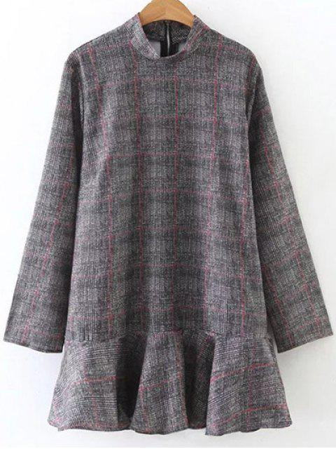 womens High Collar Ruffle Hem Dress - GRAY L Mobile
