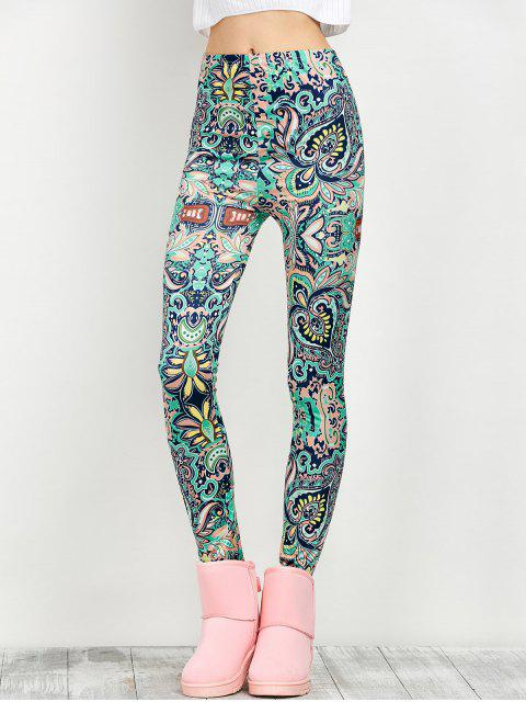 fashion Mid Rise Skinny Print Leggings -   Mobile