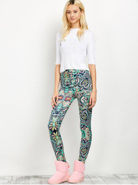 chic Mid Rise Skinny Print Leggings -   Mobile