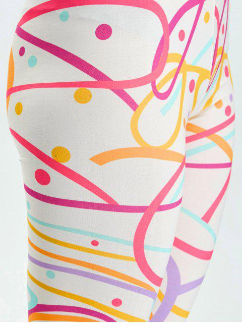 affordable High Waist Skinny Graphic Leggings - WHITE M Mobile