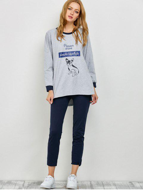 shop Puppy Print Sweatshirt and Leggings Lounge Set - GRAY M Mobile
