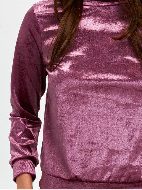 fashion Stand Collar Velvet Tee and Velvet Sport Pants -   Mobile