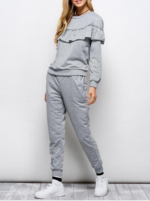 buy Flounced Sweatshirt and Jogger Pants - GRAY XL Mobile