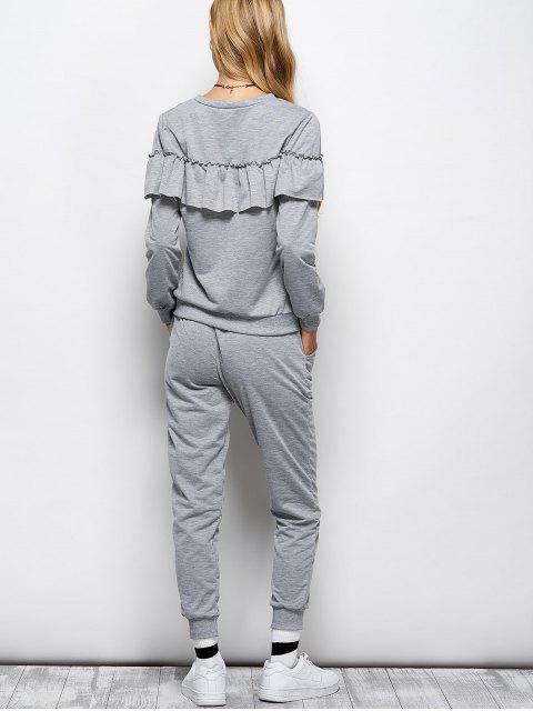 women's Flounced Sweatshirt and Jogger Pants -   Mobile