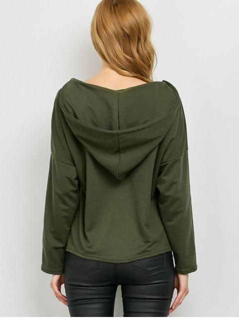 outfit V Neck Lace Up Hoodie - ARMY GREEN XL Mobile